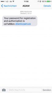 SMS - Anmeldung bei Questra World bzw. AGAM Atlantic Global Asset Management