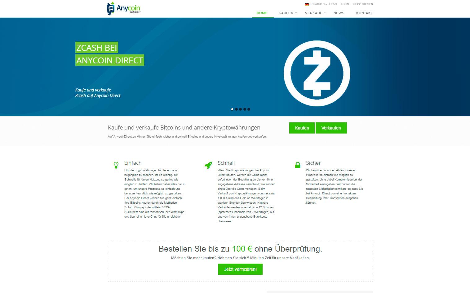 Anycoin-Direct Kaufe und verkaufe Bitcoins und andere Kryptowährungen