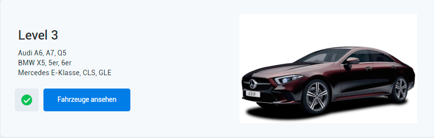 EXW-Auto-Programm Level 3 > Audi A6, A7, Q5 BMW X5, 5er, 6er Mercedes E-Klasse, CLS, GLE