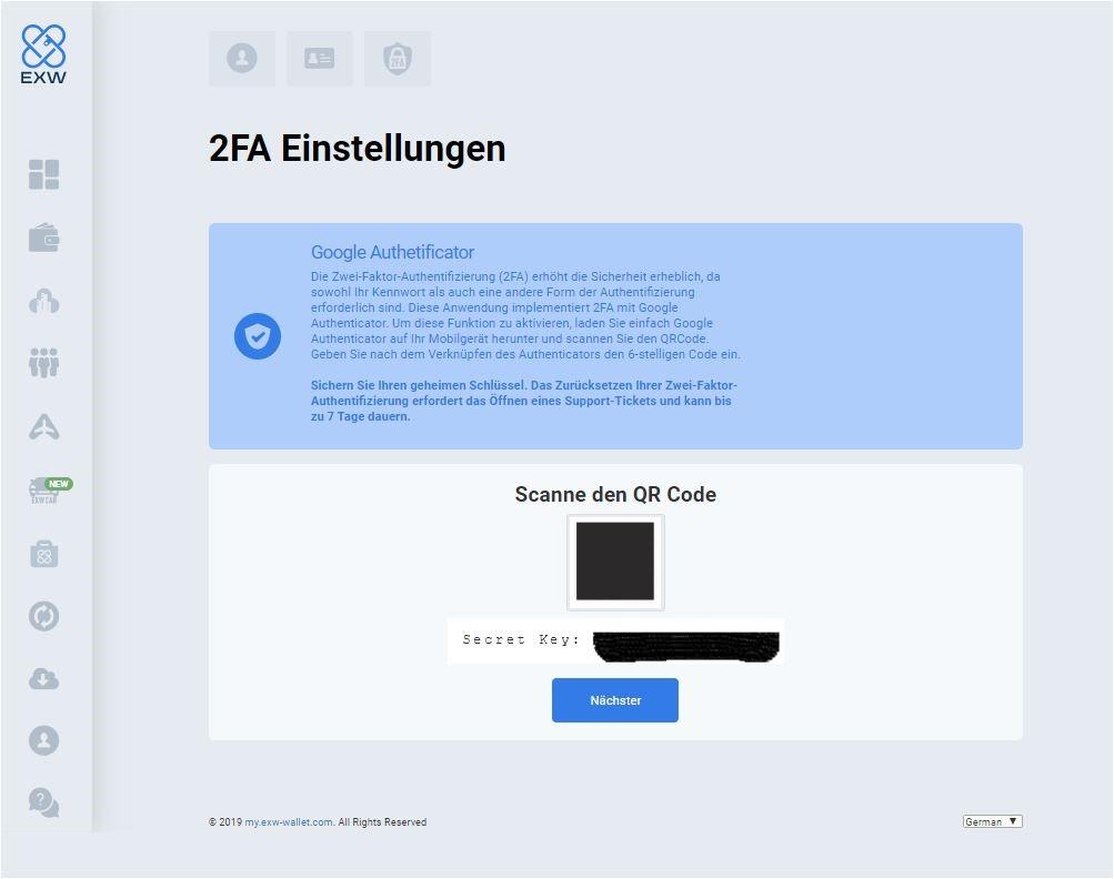 EXW Wallet 2-Faktor Authentifizierung schritt 3