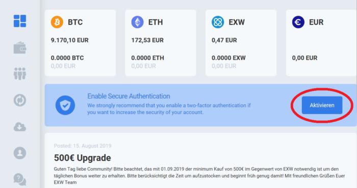 EXW Wallet 2-Faktor Authentifizierung schritt 1