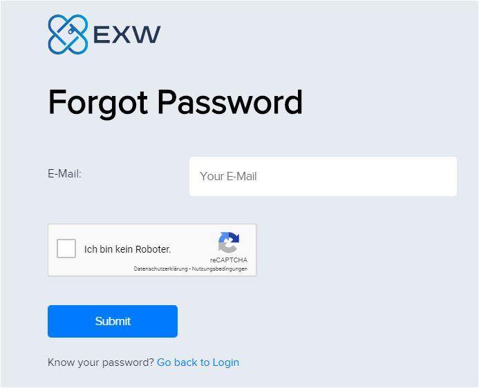 EXW wallet Passwort zurücksetzen